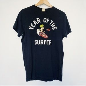 Hollister Mens Tshirt Black Graphic Art Surfer
